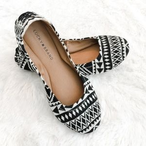 New Lucky Brand Aztec Print Lace Up Flats Size 8.5
